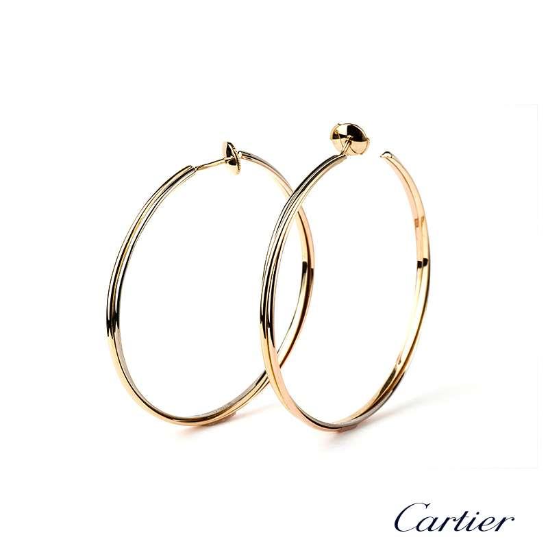 18k Cartier Trinity Hoop Earrings