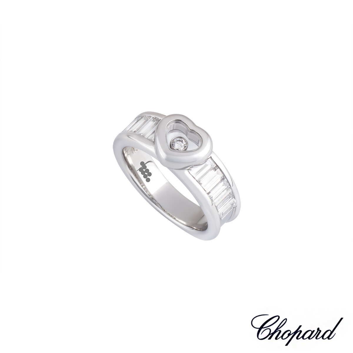 Chopard 18k White Gold Happy Diamonds Heart Ring B&P 82/2853-001