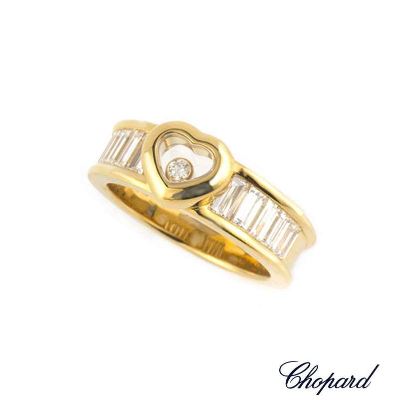 Chopard 18k Yellow Gold Happy Diamond Heart Ring 82/2853-20