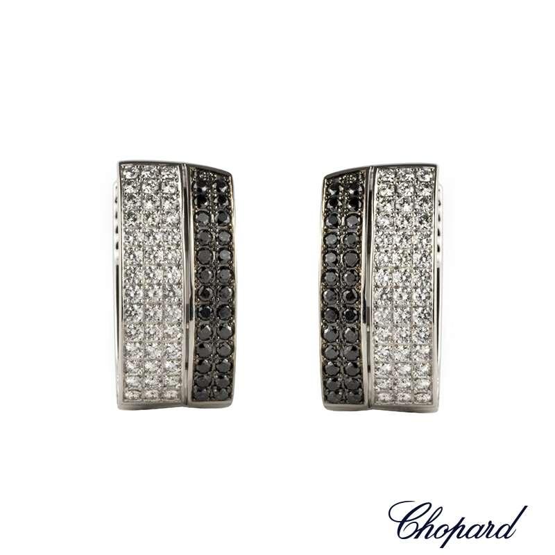 Chopard 18k White Gold Diamond Set Hoop Earrings 844073-1001