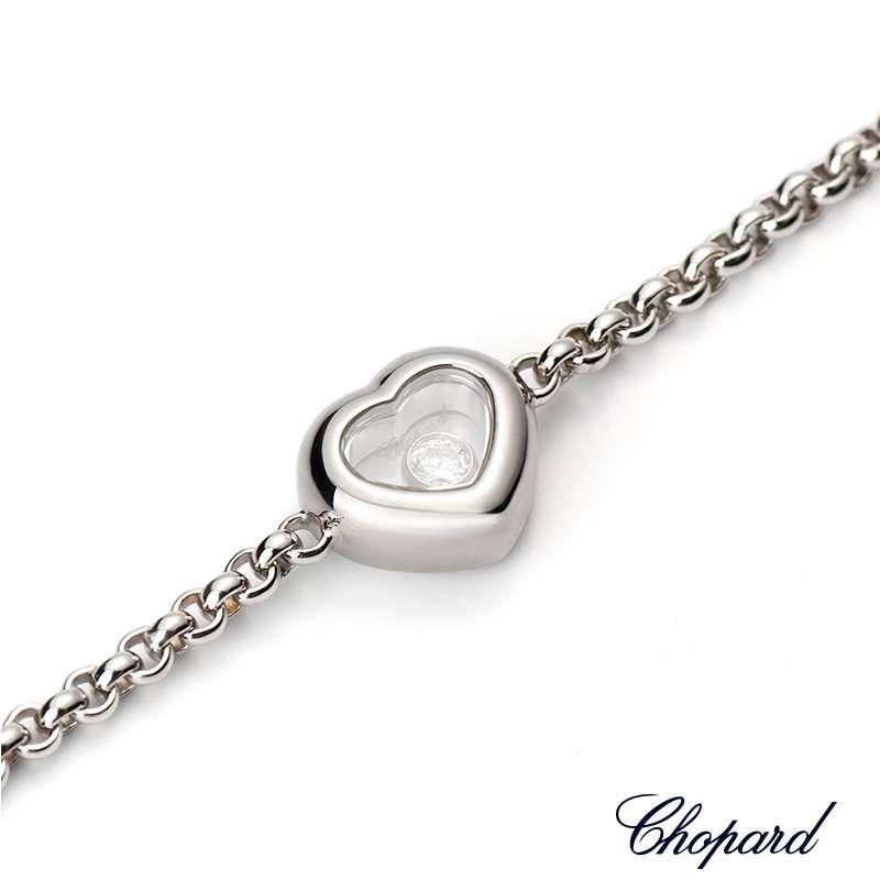 18wg Chopard Happy Diamonds Heart Bracelet 85 5710 1001