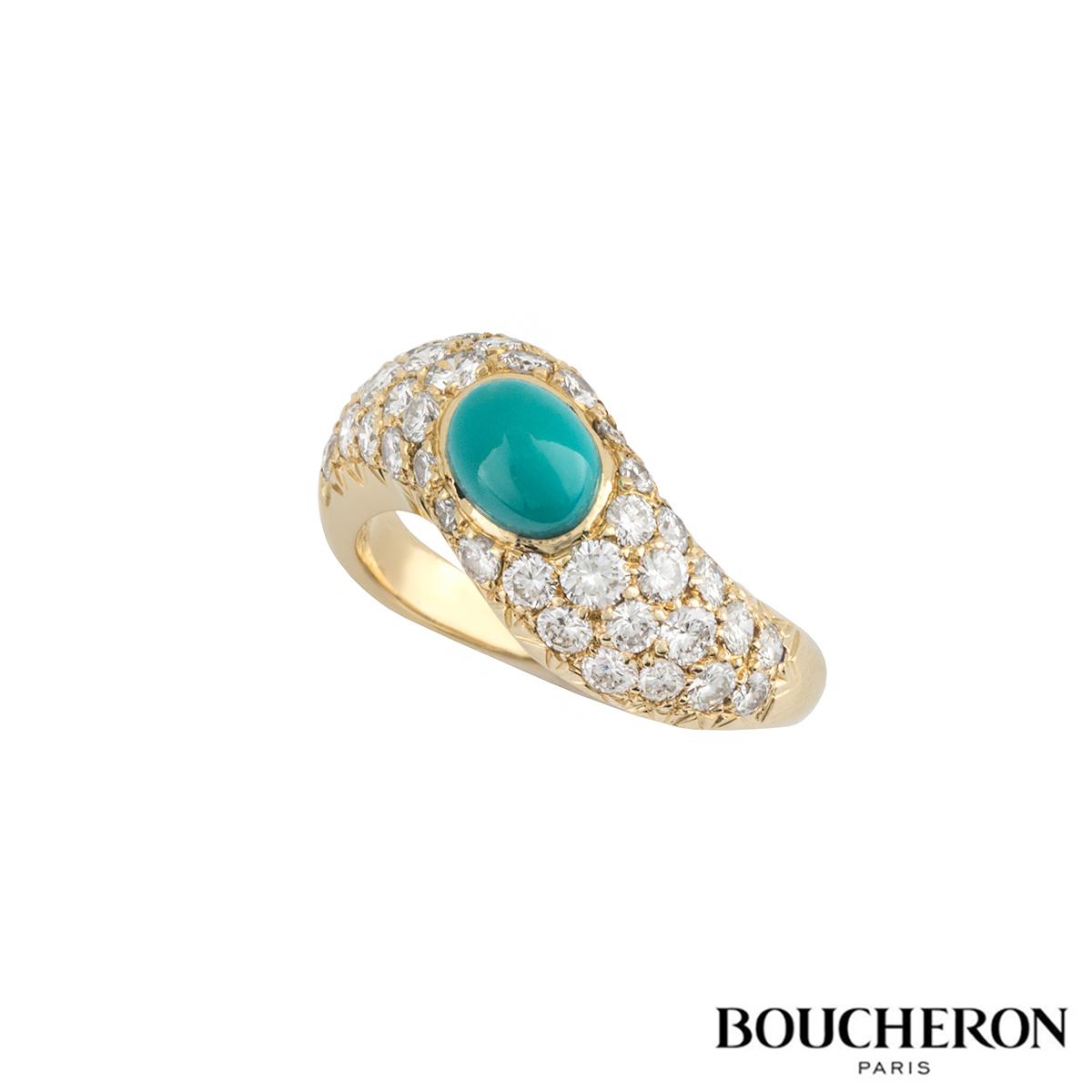 Boucheron 18k Yellow Gold Turquoise & Diamond Dress Ring