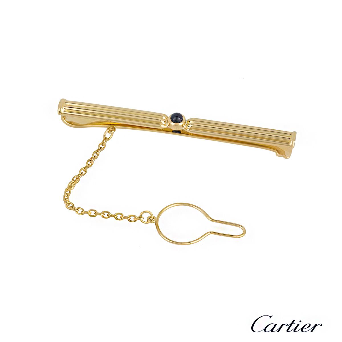Cartier 18k Yellow Gold Sapphire Tie Clip