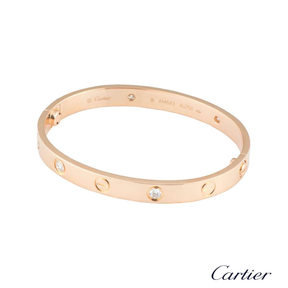 Cartier Infinity Bracelet: Cartier Love Bracelet Rose Gold Half Diamond Size 18