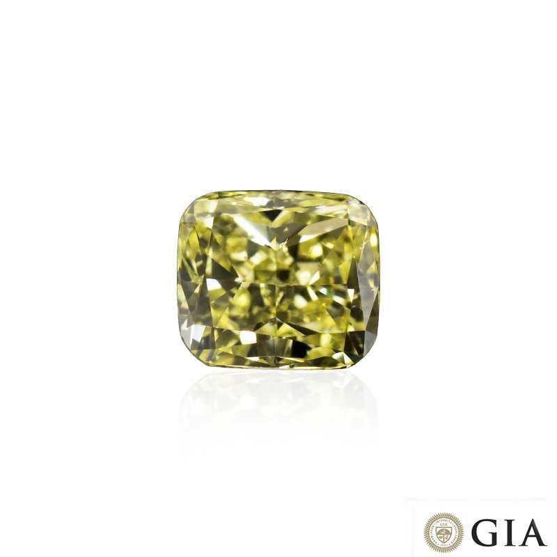 Cushion Cut Natural Fancy Yellow Diamond 1.03ct SI1