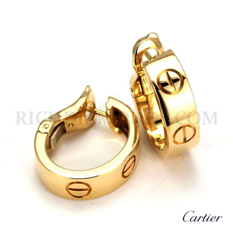 18yg Cartier Love Hoop Clip Earrings