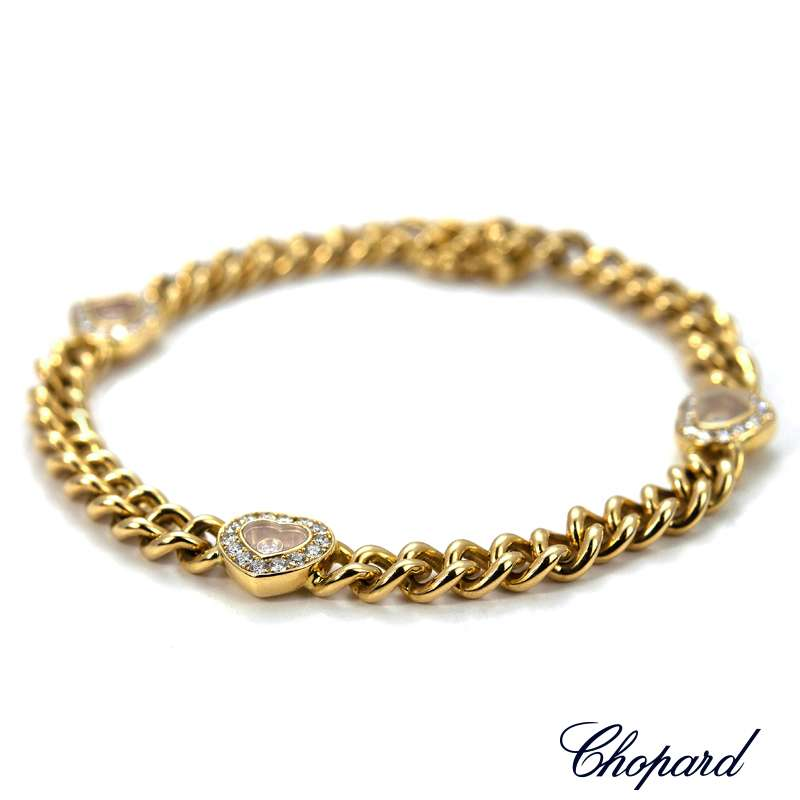 Chopard 18ct Yellow Gold Happy Diamonds Heart Bracelet