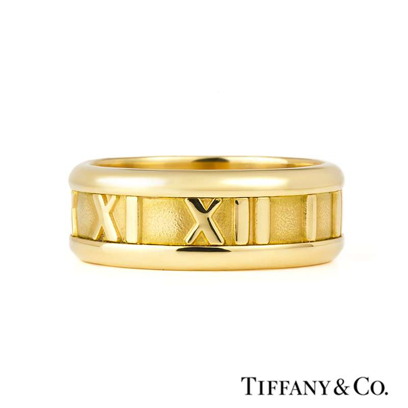 Tiffany Amp Co 18ct Yellow Gold Atlas Ring Rich Diamonds