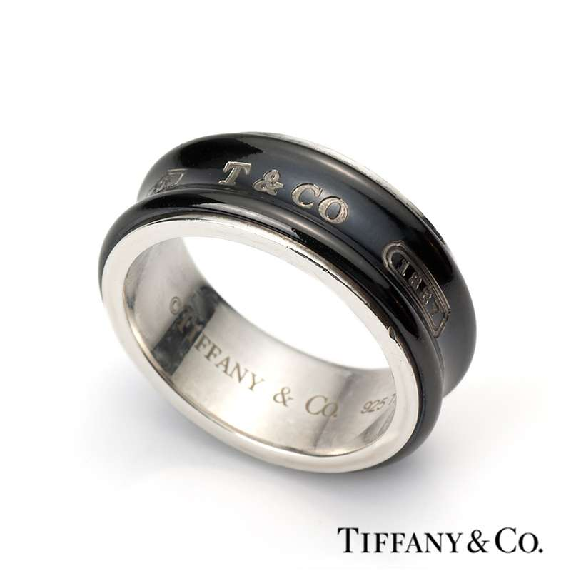 Silver and midnight titanium tiffany co 1837 ring for Tiffany mens wedding ring