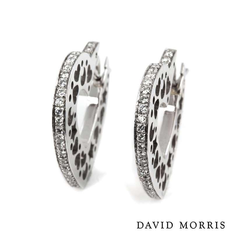 David Morris 18k White Gold Diamond Heart Earrings