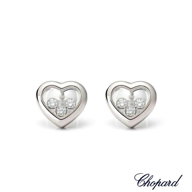 Chopard 18ct White Gold Happy Diamonds Heart Earrings 83 4611 1001 Rich Diamonds
