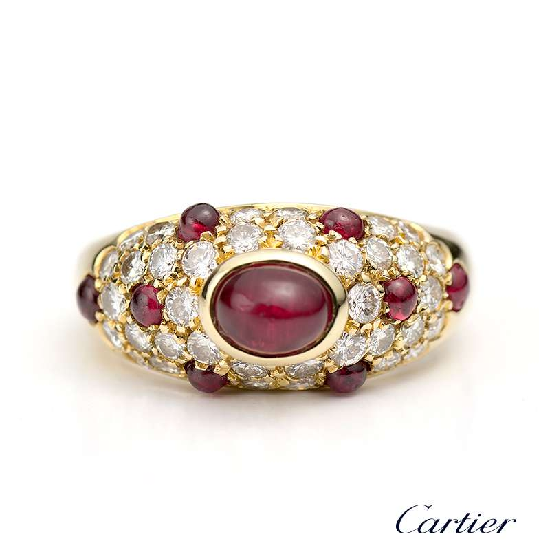 Cartier 18ct Yellow Gold Diamond And Cabochon Ruby Ring