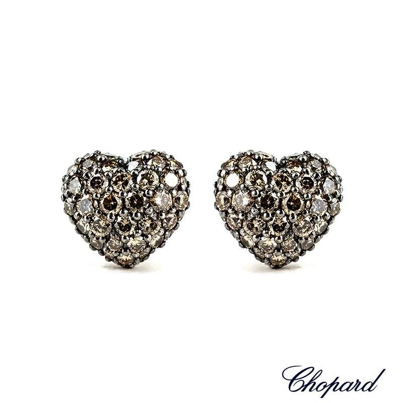 Chopard 18k White Gold Diamond Heart Earrings 83/4203-1008