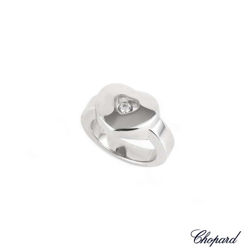 Chopard 18k White Gold Happy Diamonds Ring B&P 823460-1109