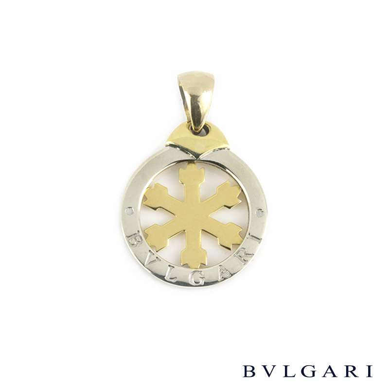 Bvglari Steel and Gold Small Snowflake Tondo Pendant