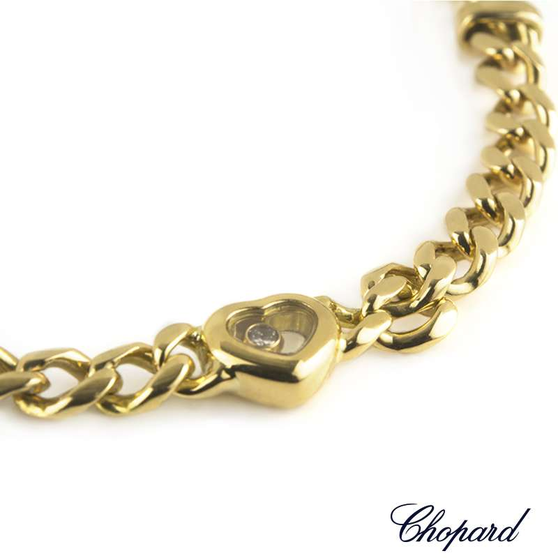 Chopard 18k Yellow Gold Happy Diamonds Heart Bracelet