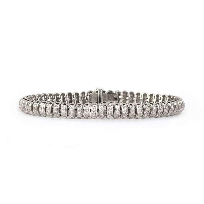 18k White Gold Round Brilliant Cut Pave Set Diamond Bracelet 2.86ct