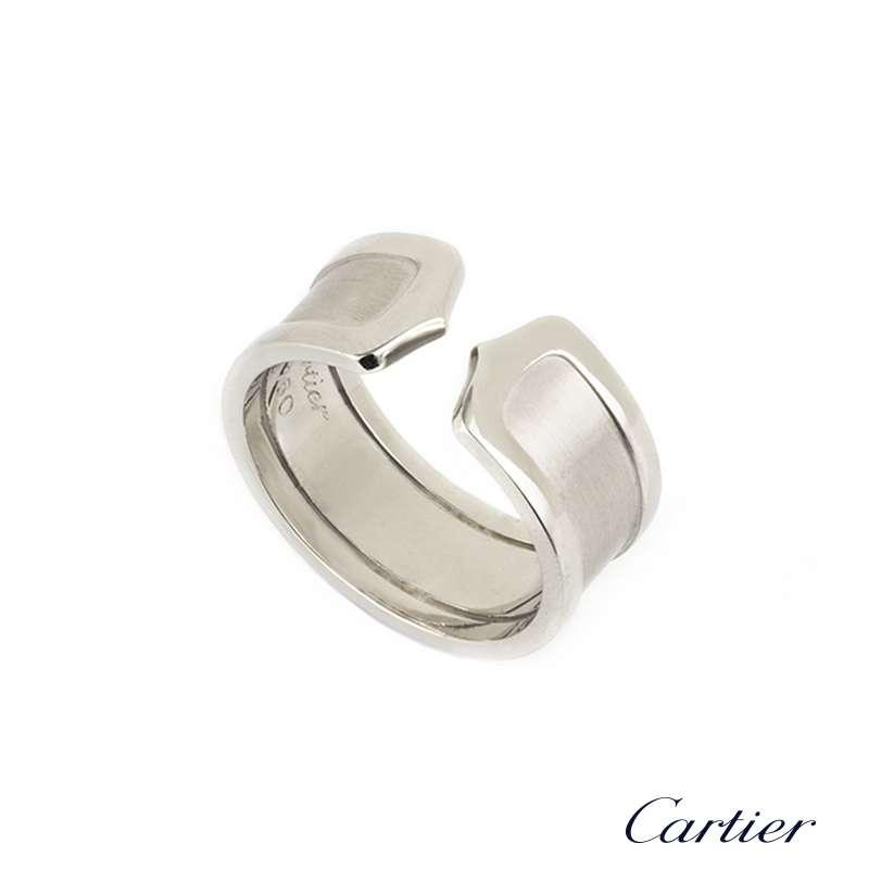 White Gold Ring Double Brushed Finish