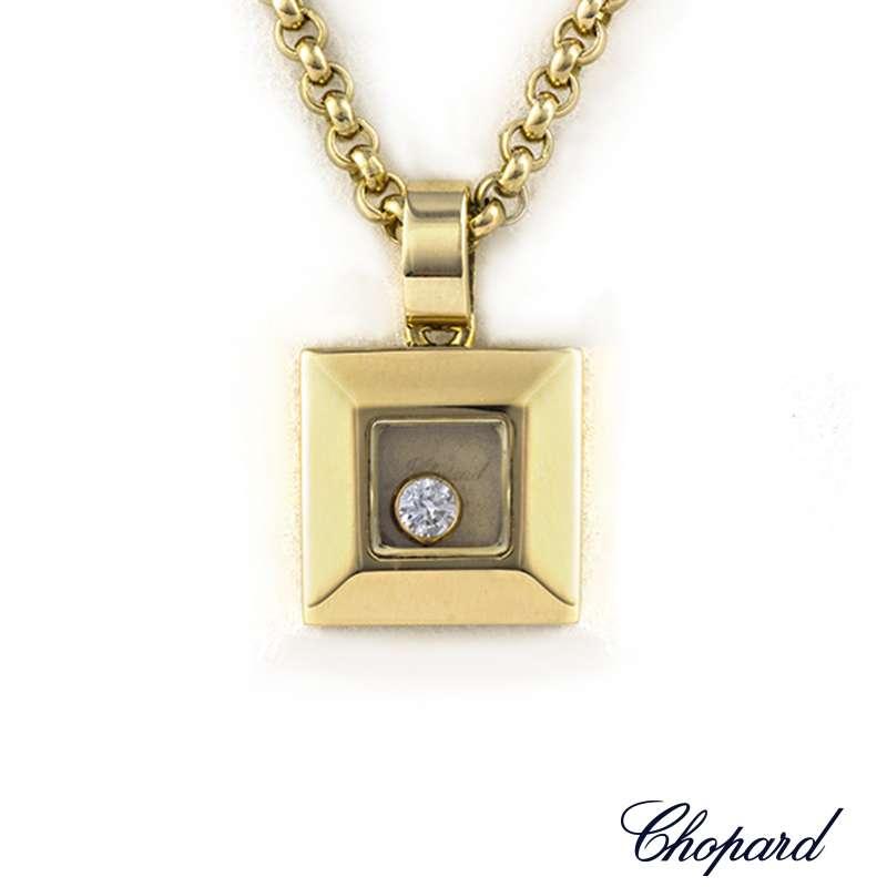 544c72b4d9691 Chopard 18k Yellow Gold Happy Diamonds Pendant B&P 79/2938-20