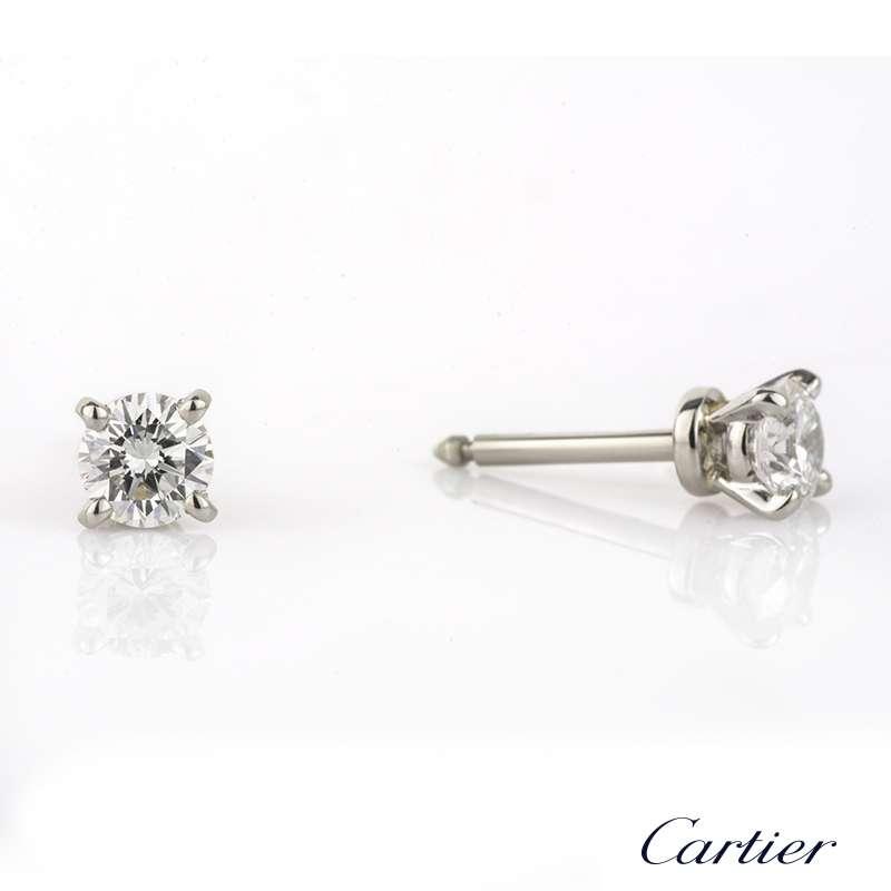 2c1b9f371d453 Cartier Round Brilliant Cut Diamond Studs in Platinum 0.52ct E/VS2