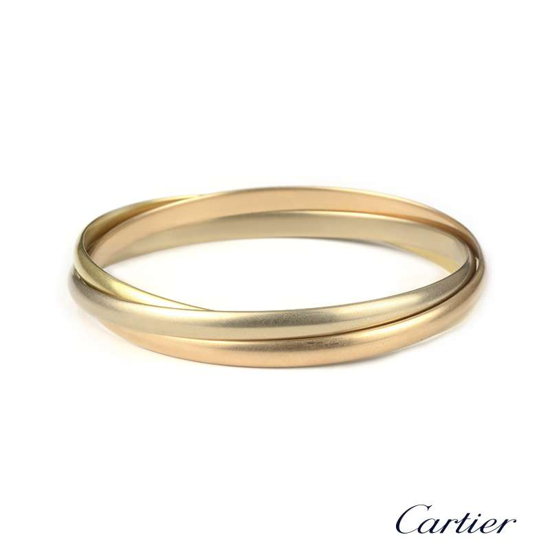 bc3e95b1e0992 Cartier 18k Three Colour Gold Trinity Bangle B&P B6013301