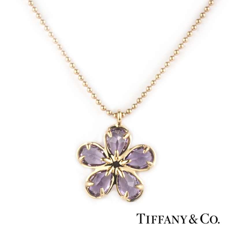 3522f187e Tiffany & Co. 18k Rose Gold Amethyst Flower Pendant - Rich Diamonds ...
