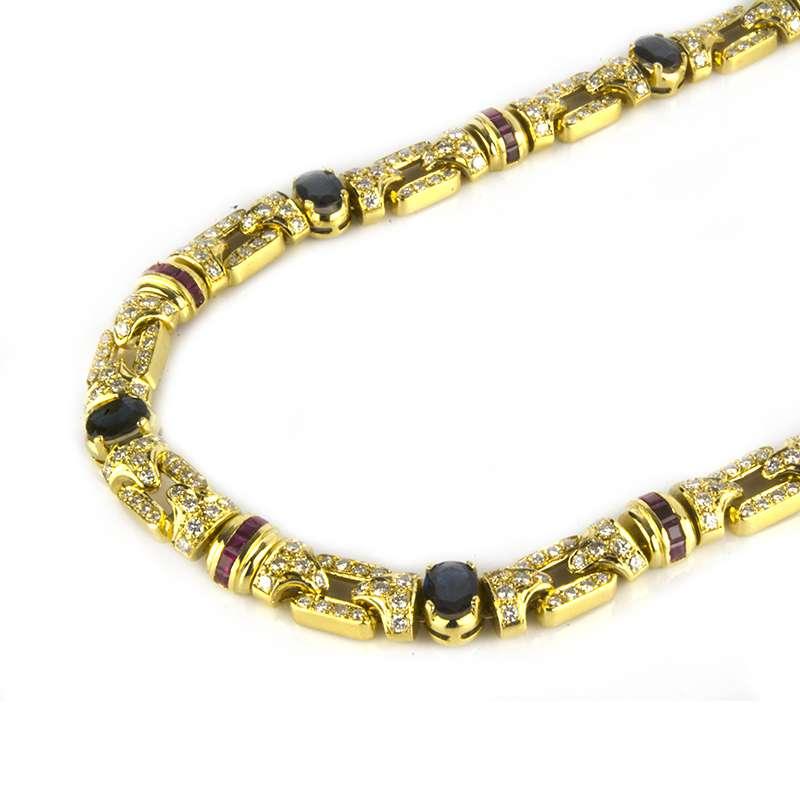 18k Yellow Gold Multi-Stone Diamond Set Necklace