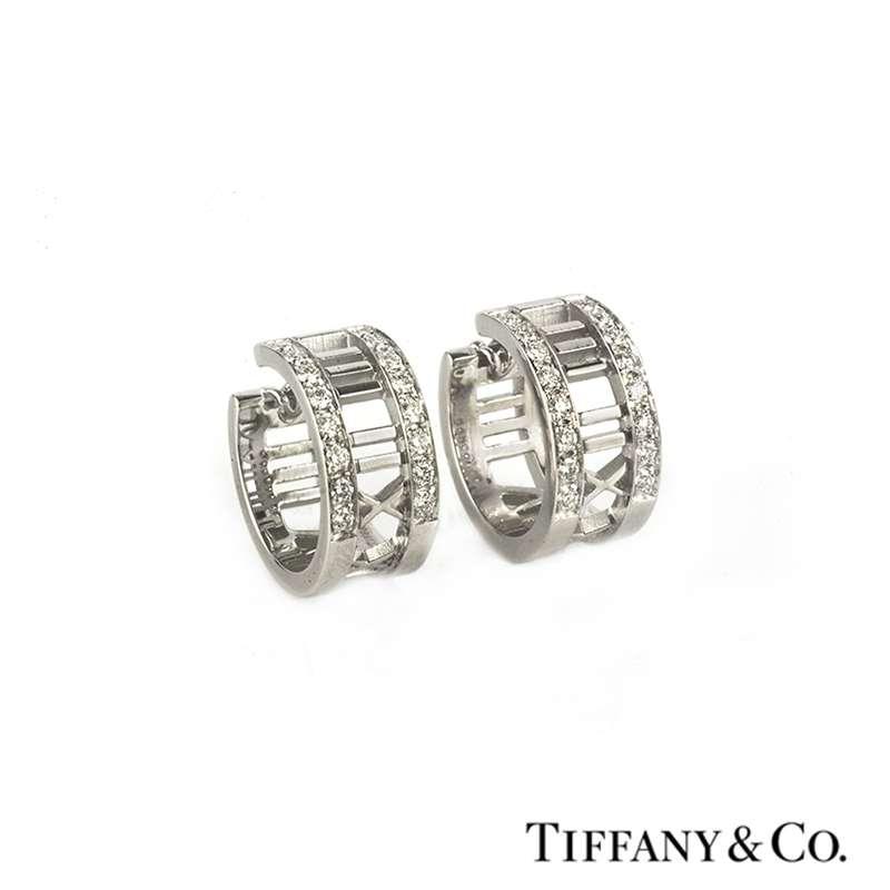 15a62d2de Tiffany & Co 18k White Gold Diamond Set Atlas Earrings - Rich ...