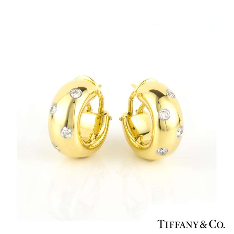 e7e8b695e Tiffany & Co 18k Yellow Gold Diamond Etoile Hoop Earrings - Rich Diamonds  Of Bond Street