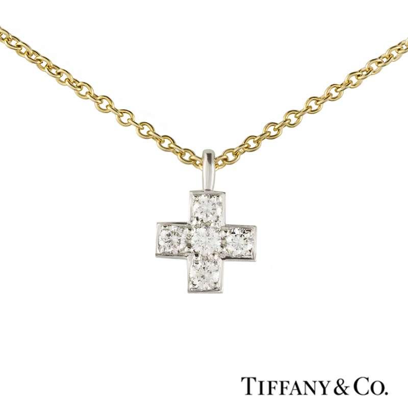 2cea20d22 Tiffany & Co Diamond Cross in Platinum & 18k Yellow Gold Chain - Rich Diamonds  Of Bond Street