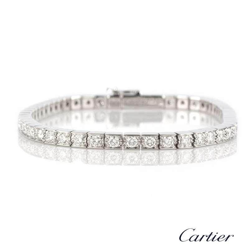 3879bd594fbca Cartier 18k White Gold Diamond Lanieres Line Bracelet Size 14