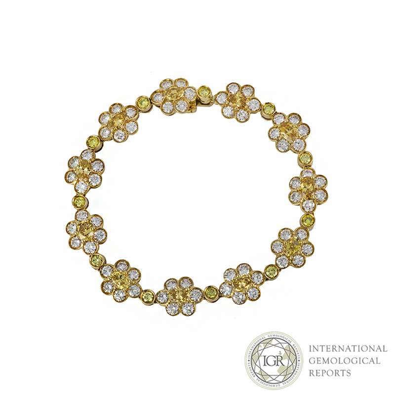 18k Yellow Gold Diamond Set Flower Bracelet 11.88ct