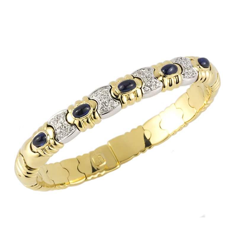 18k Yellow & White Gold Sapphire and Diamond Cuff Bangle
