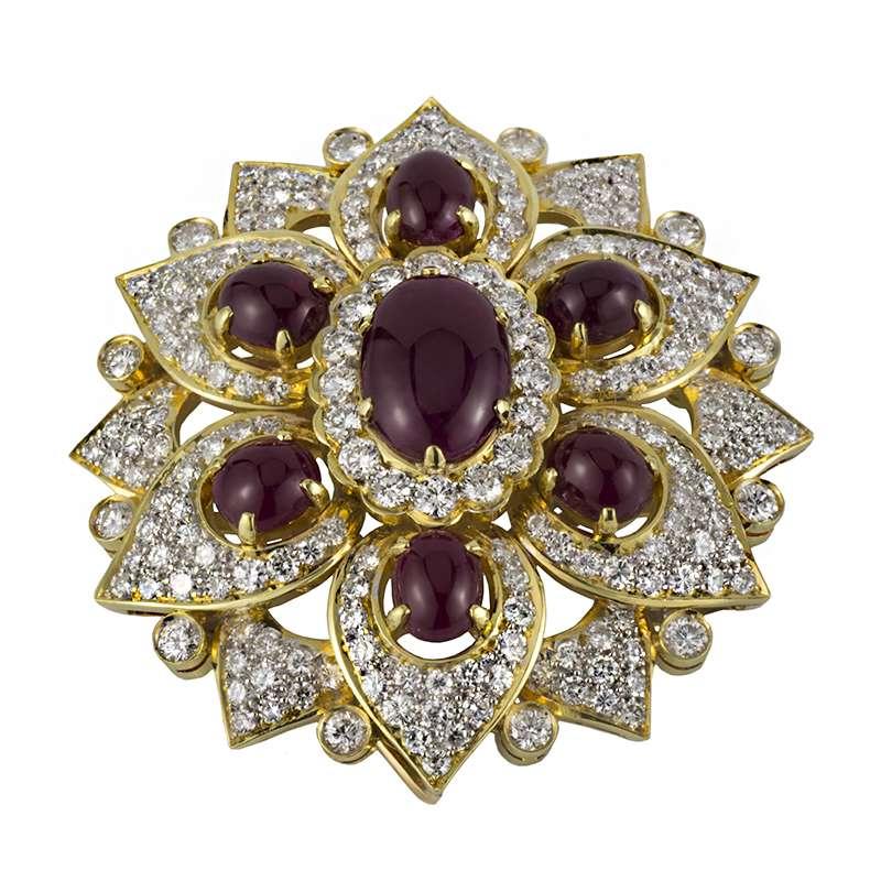 18k Yellow Gold Diamond Amp Ruby Brooch Rich Diamonds Of