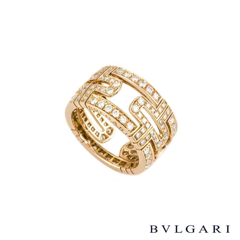 Bvlgari 18k Rose Gold Diamond Set Parentesi Ring