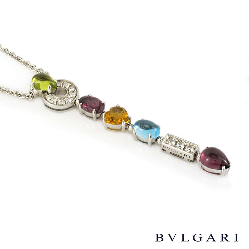 bvlgari 18k white gold multigem set allegra necklace cl853229