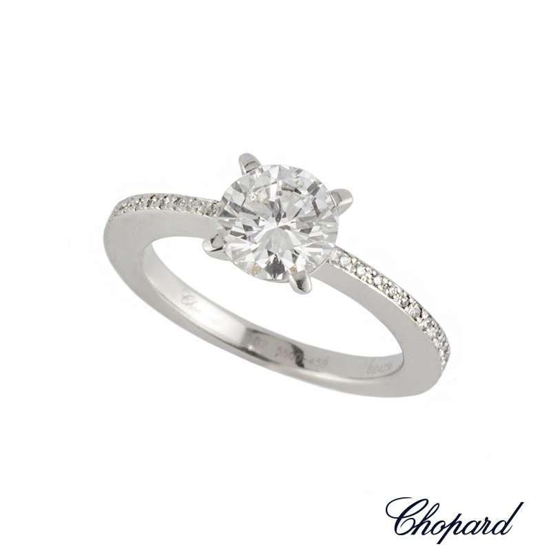 Chopard 18k White Gold Diamond Ring 1.01ct D/VS2 B&P 82/5500-459