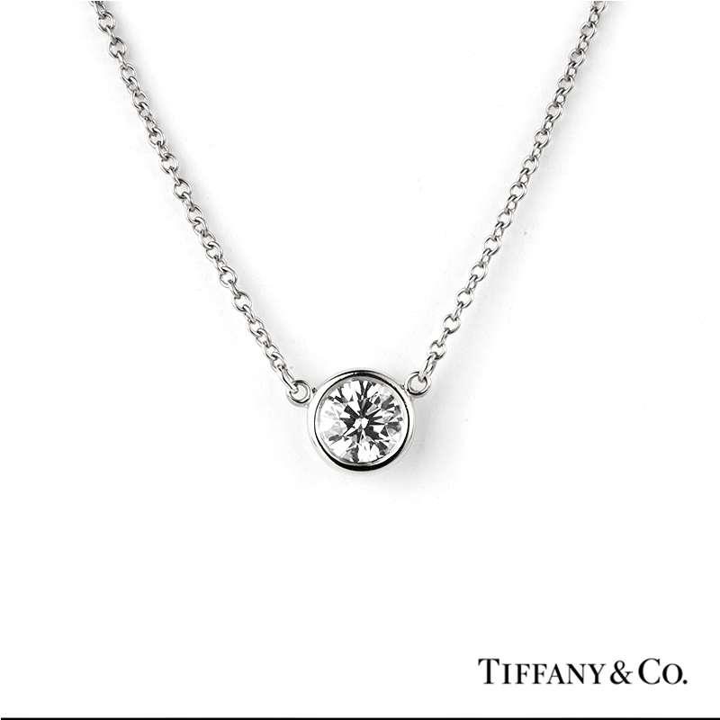 de048afd3 Tiffany & Co. Elsa Peretti Diamond Necklace in Platinum 0.40ct - Rich  Diamonds Of Bond Street