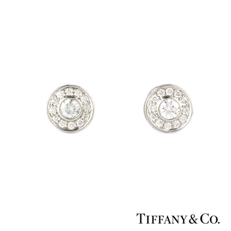 6faf6f25f Tiffany & Co. Diamond Set Circlet Earstuds in Platinum 0.53ct - Rich  Diamonds Of Bond Street