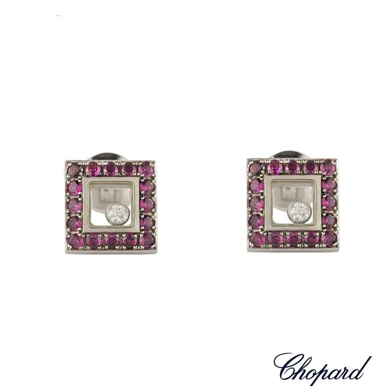 Chopard 18k White Gold Ruby Happy Diamonds Earrings 832896-1003 B&P