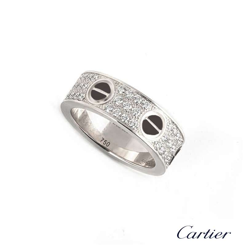 Cartier 18k White Gold Diamond And Ceramic Love Ring Size
