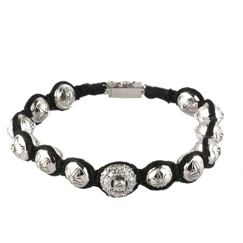 18k White Gold Diamond Set Ball Bracelet 1.35ct