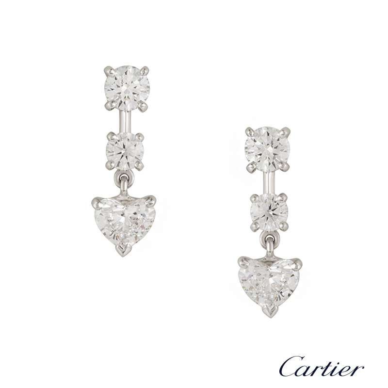 cartier 18k white gold diamond drop earrings hp800977