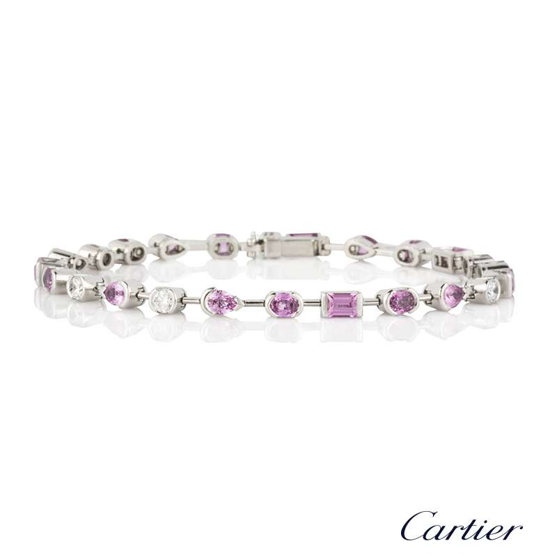 Cartier 18k White Gold Diamond and Sapphire Meli Melo Bracelet