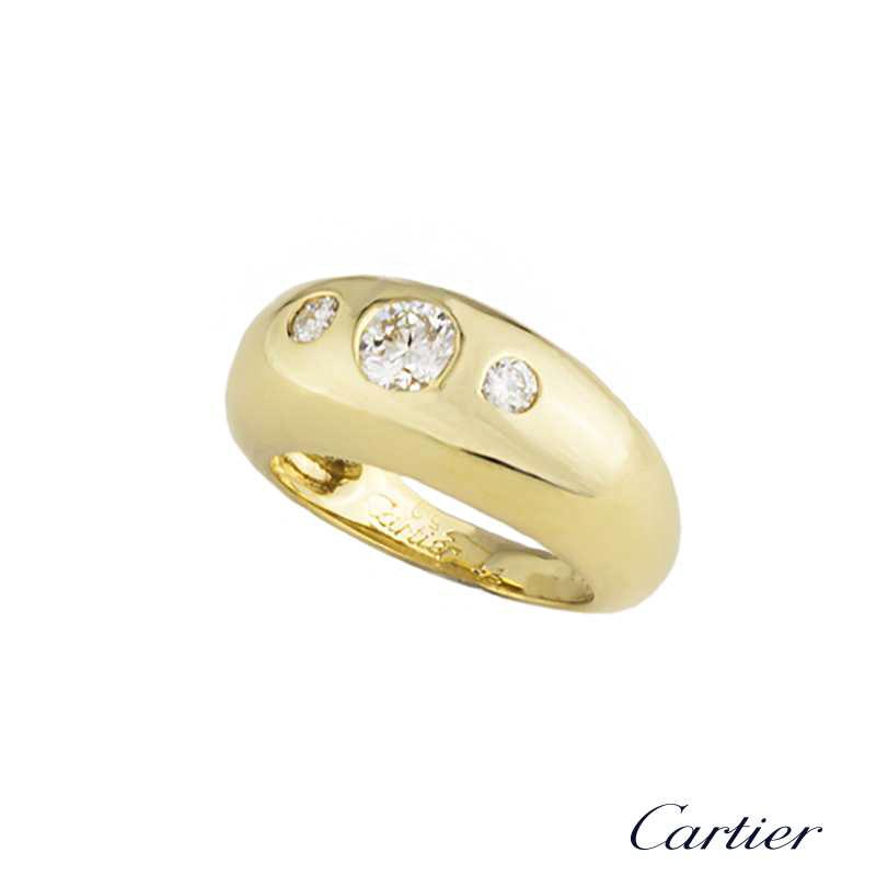 Cartier 18k Yellow Gold Diamond Set Dress Ring