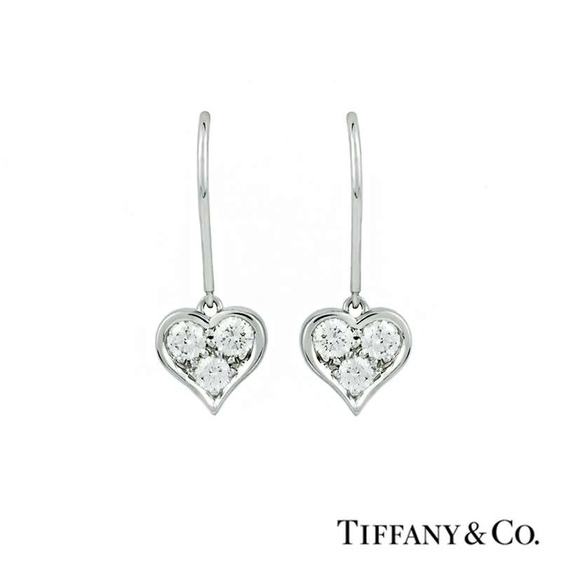 b168a8ff3 Tiffany & Co. Diamond Set Heart Drop Earrings in Platinum - Rich Diamonds  Of Bond Street