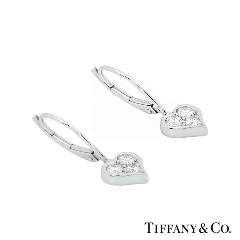199061a16 Tiffany & Co. Diamond Set Heart Drop Earrings in Platinum - Rich ...