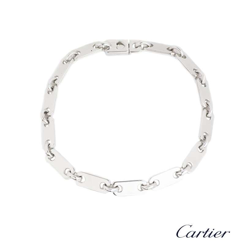 Cartier 18k White Gold Rectangular Link Bracelet
