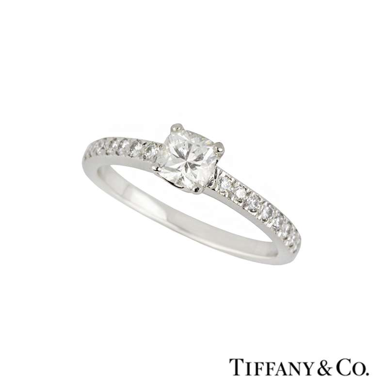 Tiffany Co Cushion Cut Diamond Ring In Platinum 0 37ct