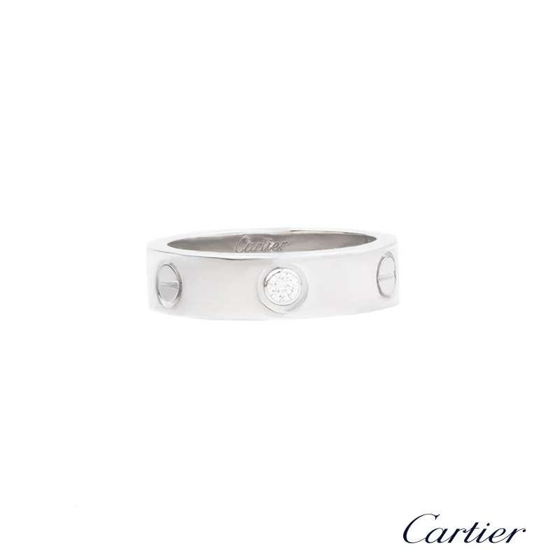 Cartier 18k White Gold Half Diamond Love Ring Size 56 B Amp P
